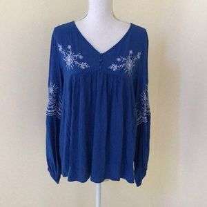 NWT! LOFT large blue L/S embroidered blouse